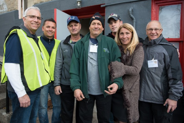 School Committee member Frank Parker, School Committee member Marcony Almeida-Barros, Councilor at Large Rich Dell Isola, Paul Cardillo, Councilor Mike McLaughlin, Irene Cardillo, and Rich Delrossi were amongst volunteers at the Grace Food Pantry