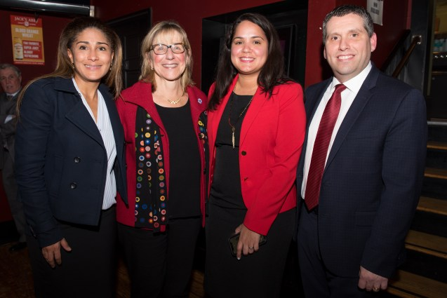 Saritin Rizzuto, Mirna Diaz, and Senator Sal DiDomenico welcomed Senate President Karen Spilka to Everett on Tuesday.