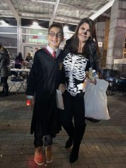 Harry Potter twin, or Adin Lozich, 11, looked a lot like Daniel Radcliffe, with his mother, Anela, who was a Skeleton, at Fright Night on Sunday at Rumney Marsh Academy.