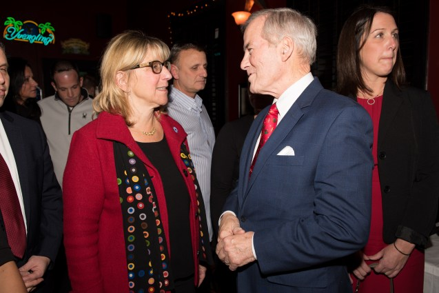 Senate President Karen Spilka and Superintendent Foresteire greeted one another on Tuesday evening.