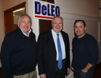 Retired Revere Fire Chief Gene Doherty with his son, Brian was on hand to enjoy a night of comedy with Speaker DeLeo.
