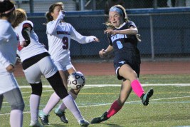 Peabody's Bridget O'Connell has her shot deflected in last Friday's 4-0 win over Somerville. (Advocate photos by Greg Phipps)