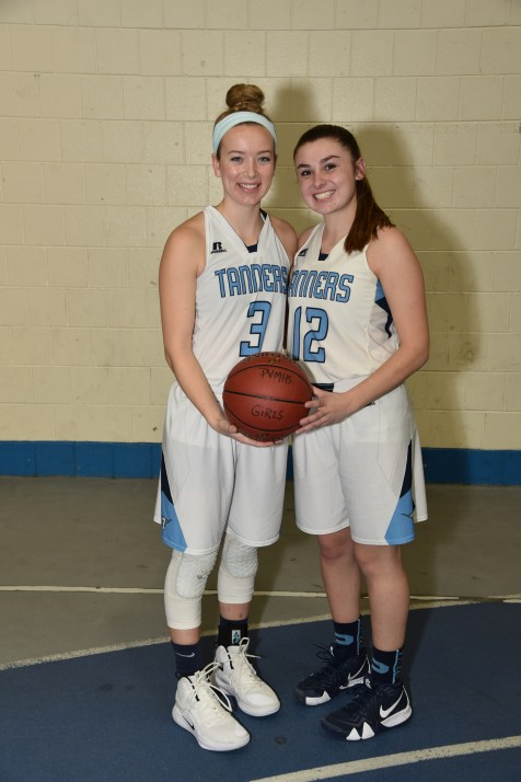 CAPTAINS: Shown ready to lead the PHS Girls Tanners Basketball are Captains Catherine Manning and Kristina Rossignoll.