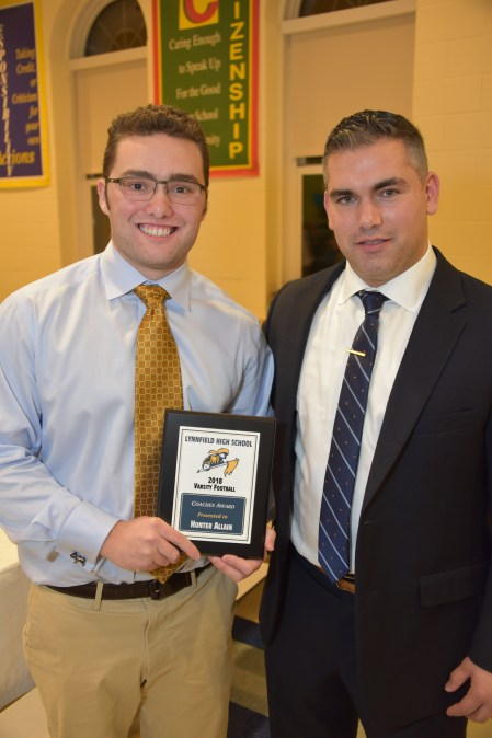 LHS 2018 Varsity Football Coaches award winner Hunter Allain with Head Coach Pat Lamusta