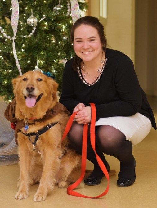 Orla the Therapy Dog and her human Kate McGrath (Lynnfield Catholic Collaborative's Pastoral Care Coordinator and Faith Formation Coordinator for Grades K-6 at Our Lady of the Assumption)