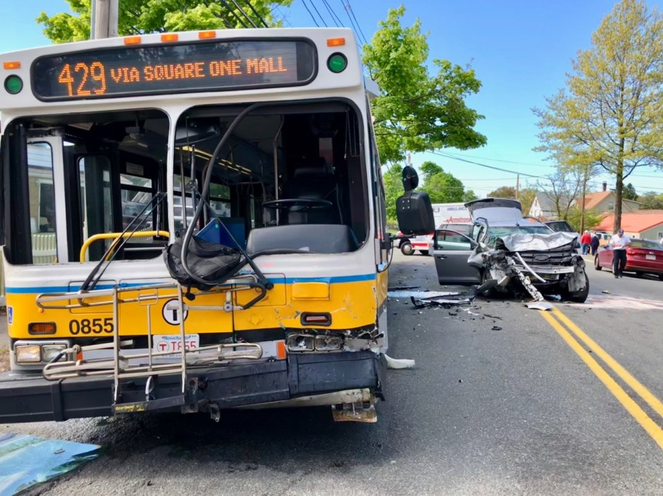 ROAD WRECKAGE: The driver of this MBTA bus and his four passengers were treated for minor injuries after a head-on collision with a silver Ford SUV in a Mother's Day Crash on Essex Street near Felton Street. Kathleen Callahan, 47, of Saugus, the driver of the SUV, died in the crash. (Courtesy Photo to The Saugus Advocate by Damian Drella of the Saugus Fire Department)