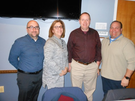 A FINAL MEETING FAREWELL: Left to right, Saugus Board of Health Members Shawn Ayube, Maria Tamagna, Director of Public Health David Greenbaum and Board of Health Chair William Heffernan after Monday's meeting. Greenbaum announced he is resigning, effective Jan. 25, to accept a similar position with the City of Salem, Mass.