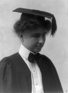 Helen Keller, deaf-blind graduate from college