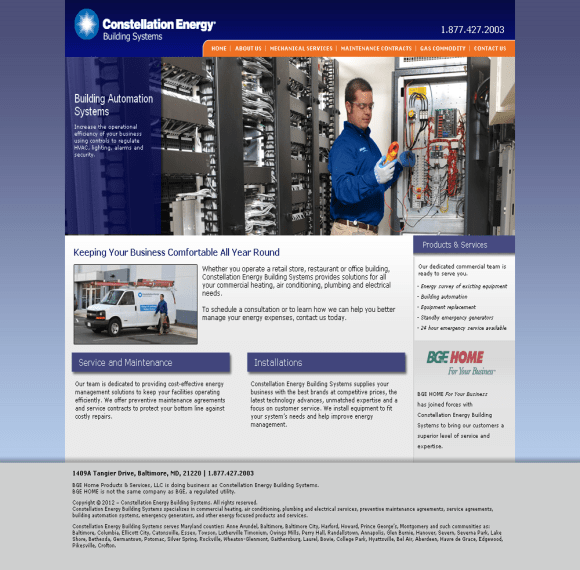 Adventure Web Productions has recently launched Constellation Energy Building Systems' new live site!