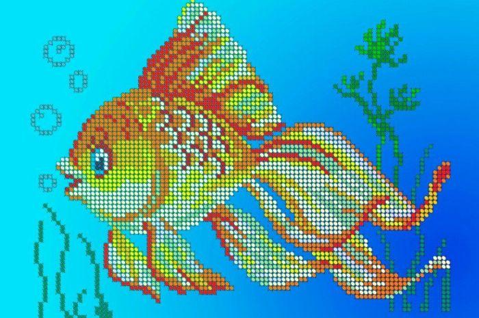 Золотая рыбка: вышивка бисером