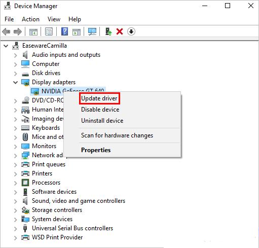 Update Drivers Windows Menu