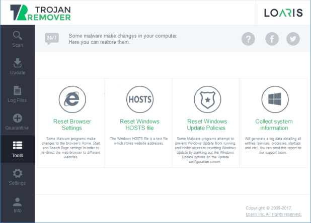 Loaris Trojan Remover Additional Features