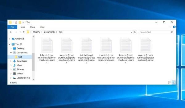 parrot Ransomware - encrypt files with .[cryptonationusa@protonmail.com].parrot extension