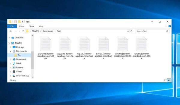RAGA Ransomware - encrypt files with .[tommyraga@aol.com].RAGA extension