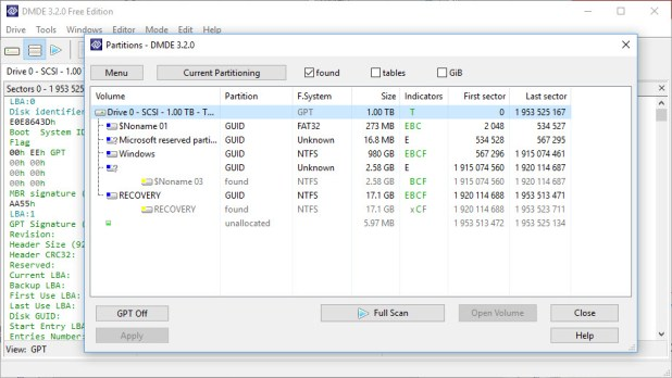 DMDE file recovery tool interface