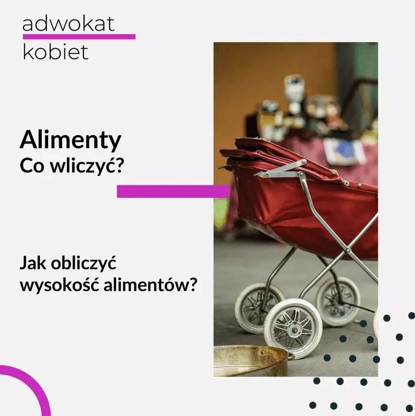 Obrazek ilustrujący artykuł na blogu Adwokat Kobiet Aleksandry Wejdelek-Bziuk, o tytule: Alimenty co wliczyć? Jak obliczyć wysokość alimentów? Na zdjęciu czerwony wózek dziecięcy.