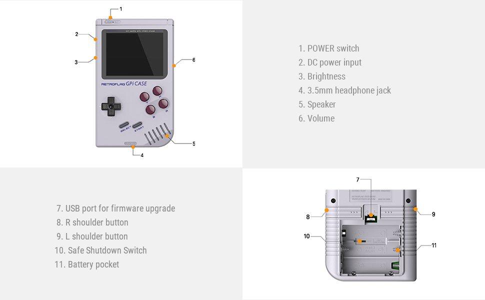 retroflag gpi nintendo game boy case features