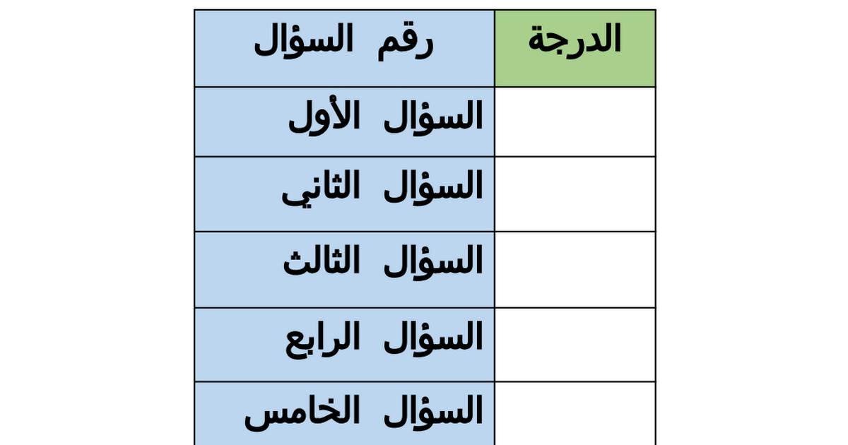 ورقة عمل الاختبار الأول لغة عربية للصف الثالث