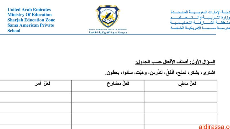 تدريبات في اللغة العربية للصف السادس
