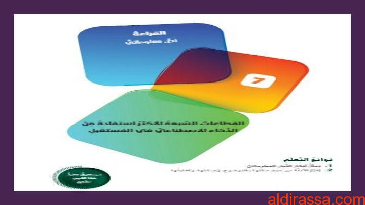 الحل لدرس القطاعات السبعه الأكثر استفادة من الذكاء الاصطناعي في المستقبل لغة عربية الصف العاشر الفصل الثالث