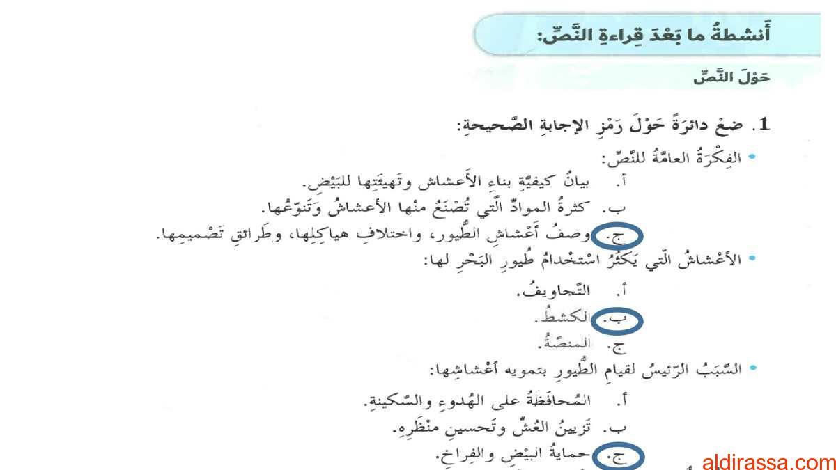 الحل لدرس حكايات الاعشاش لغة عربية الصف السابع الفصل الثالث