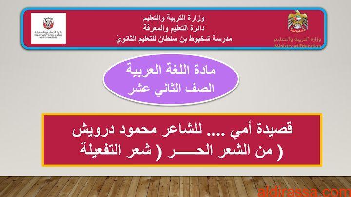 الحل لدرس قصيدة إلى أمي لغة عربية الصف الثانى عشر الفصل الثالث