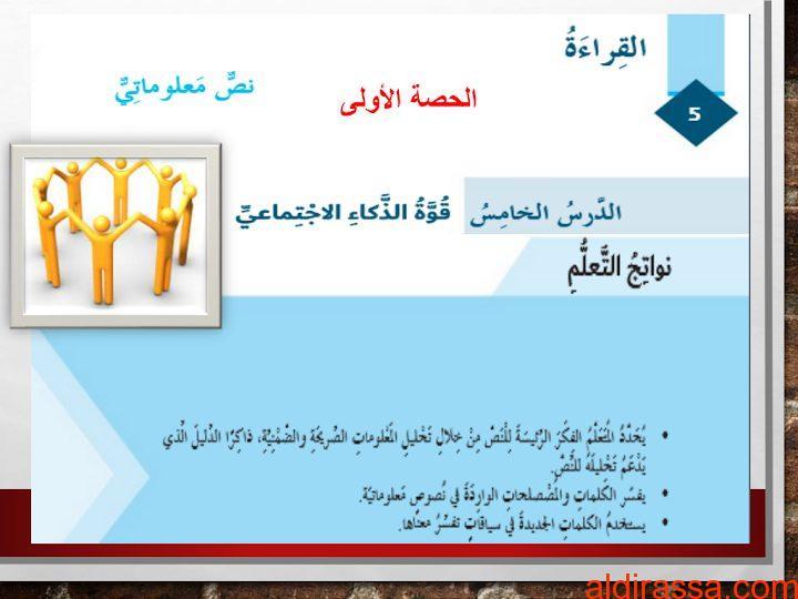 الحل لدرس قوة الذكاء الاجتماعي لغة عربية الصف السادس الفصل الثالث
