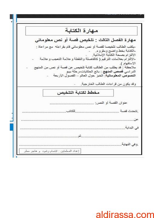 مخطط هام لمهارات امتحان الكتابة لغة عربية الصف الثالث