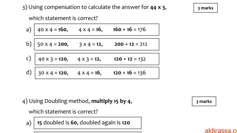 مراجعة رياضيات الفصل الثالث الصف الخامس منهج انكليزي