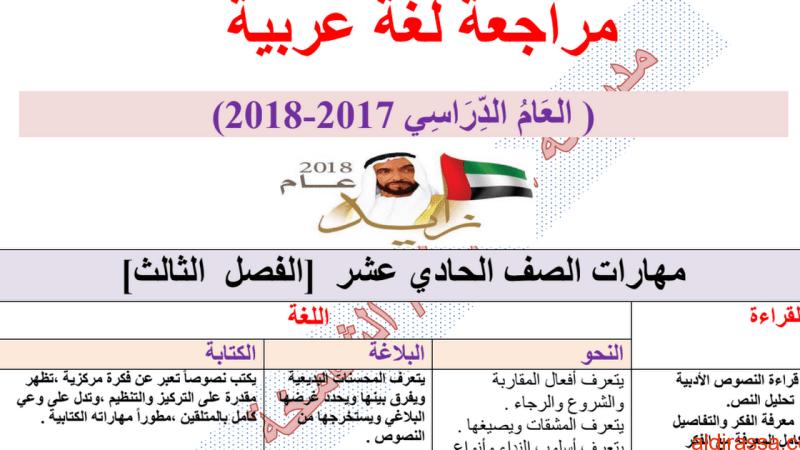 مراجعة شاملة مهارات اللغة العربية الفصل الثالث الصف الحادي عشر