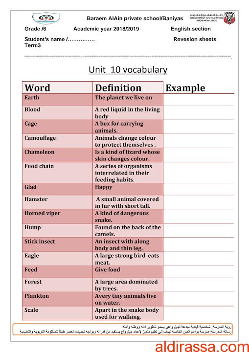 مفردات وورق عمل الوحدة العاشرة لغة إنجليزية الصف السادس الفصل الثالث