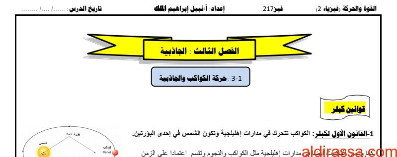 ملخص الجاذبية فيزياء الصف التاسع الفصل الثالث