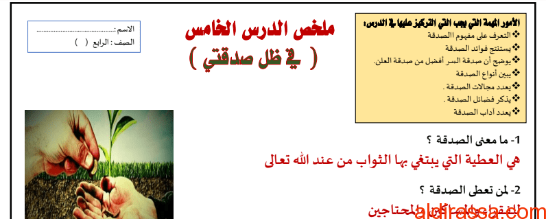 ملخص درس في ظل صدقتي تربية إسلامية الصف الرابع الفصل الثالث