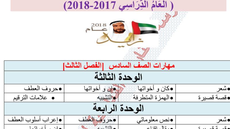 مهارات في اللغة العربية الفصل الثالث الصف السادس