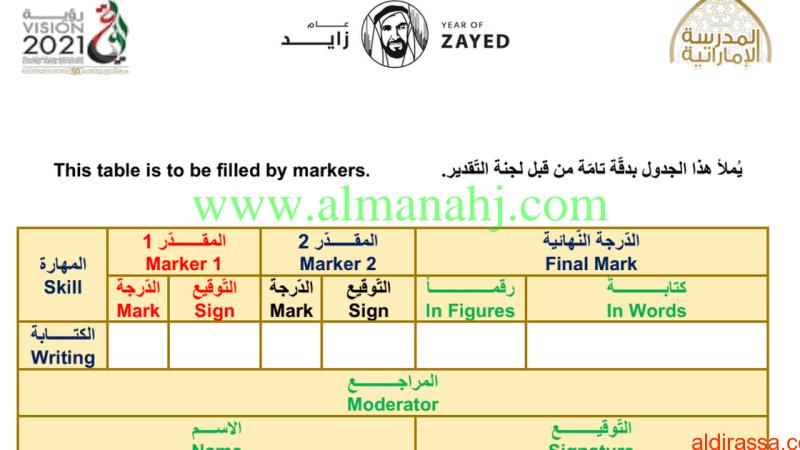 نموذج تدريبي لامتحان الكتابة للغة الانكليزية الفصل الثالث للصف السادس