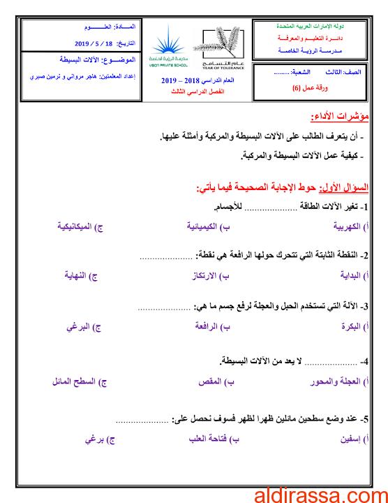 ورق عمل الآلات البسيطة علوم الصف الثالث الفصل الثالث