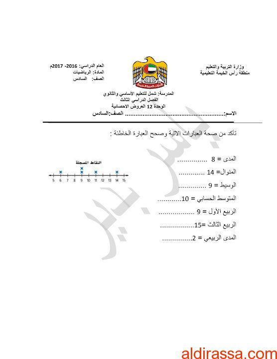ورق عمل العروض الإحصائية رياضيات الصف السادس الفصل الثالث