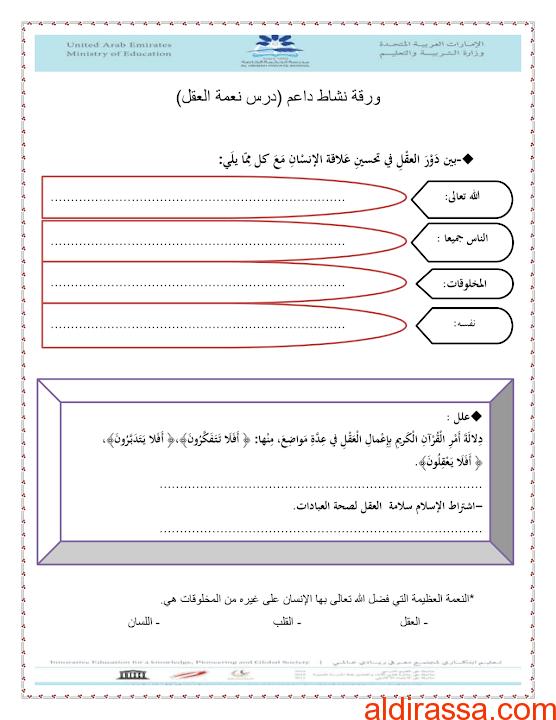 ورقة عمل نعمة العقل تربية إسلامية الصف الخامس الفصل الثالث