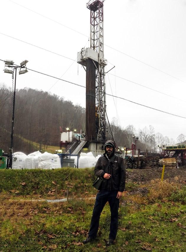 Kirk Jalbert at a drill rig.