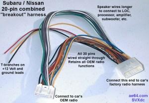20pin bined wiring Harness for Subaru Impreza, Forester, Crosstrek, Legacy, Outback, Nissans