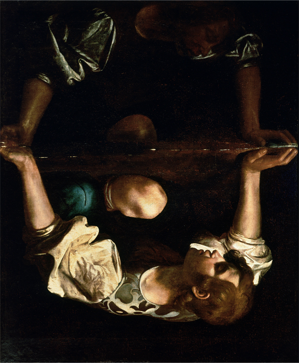 "Caravaggio, ""Narcissus at the Source"" (1597‒1599) rotated 180 degrees"