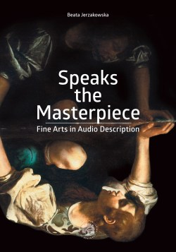 "Speaks the Masterpiece cover. An upside down painting of Narcissus looking at his reflection in water such that the distorted and difficult-to-make-out image appears above and the clearer image appears below in the ""reflection"""