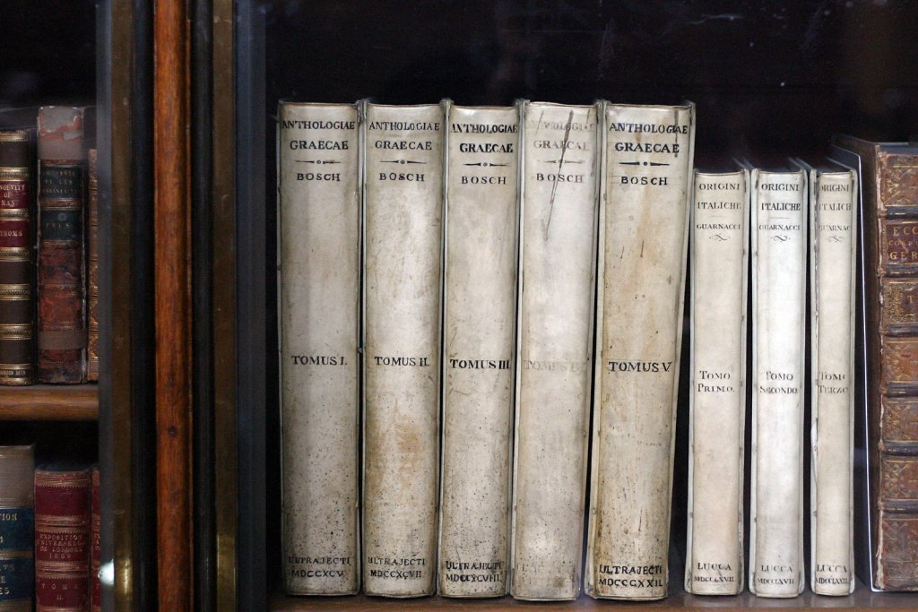 Van Bosch and van Lennep's version of The Greek Anthology . Photographed at The British Museum, London.