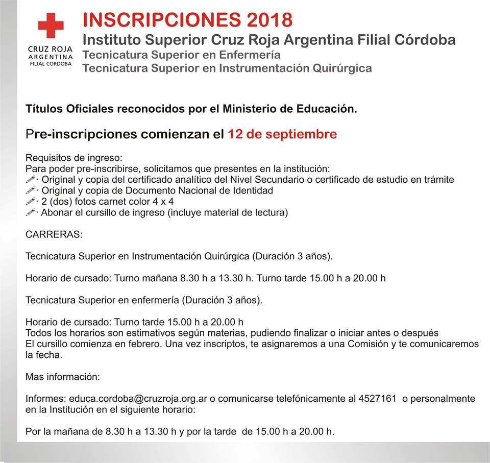 INSCRIPCIONES 2018 - CRUZ ROJA ARGENTINA