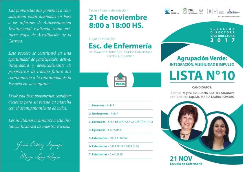 Elección Directora – Vice Directora 2017. Escuela de Enfermeria. FCM. UNC