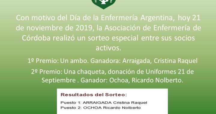 SORTEO ESPECIAL: DÍA DE LA ENFERMERÍA - 21 DE NOVIEMBRE 2019