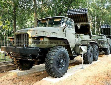 "The BM-21 ""Grad"" Soviet truck-mounted 122 mm multiple rocket launcher as used by the Cambodian army - one of the weakest militaries in Asean according to the GFP 2016 ranking index"