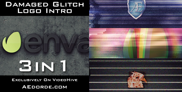 Damaged Glitch Logo Intro - 3in1 Pack