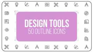 Design Tools - 50 Thin Line Icons