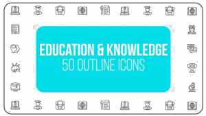 Education & Knowledge - 50 Thin Line Icons